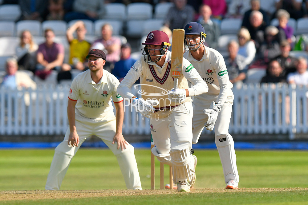 Jamie Overton of Somerset sets off on a quick single during the Specsavers County Champ Div 1 match between Somerset County Cricket Club and Lancashire County Cricket Club at the Cooper Associates County Ground, Taunton, United Kingdom on 5 September 2018.