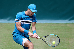 HALLE, June 23, 2018  Borna Coric of Croatia hits a return during the semifinal match against Roberto Bautista Agut of Spain at the Gerry Weber Tennis Open on June 23, 2018 in Halle, Germany. Roberto Bautista Agut withdrew from the match due to an injury while Borna Coric entered the final. (Credit Image: © Joachim Bywaletz/Xinhua via ZUMA Wire)