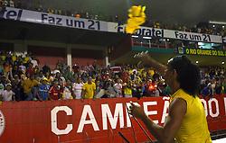 Ronaldinho Gaúcho comemora a vitória da seleção brasileira sobre o Peru em partida válida pelas eliminatórias da Copa do Mundo de 2010. FOTO: Jefferson Bernardes / Preview.com