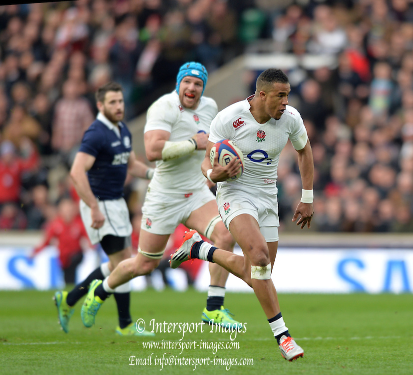Twickenham, Great Britain, Antony WATSON, running towards the Scottish try  line during the Six Nations Rugby England vs Scotland, played at the RFU Stadium, Twickenham, ENGLAND. Saturday 14/03/2015<br /> <br /> [Mandatory Credit; Peter Spurrier/Intersport-images]