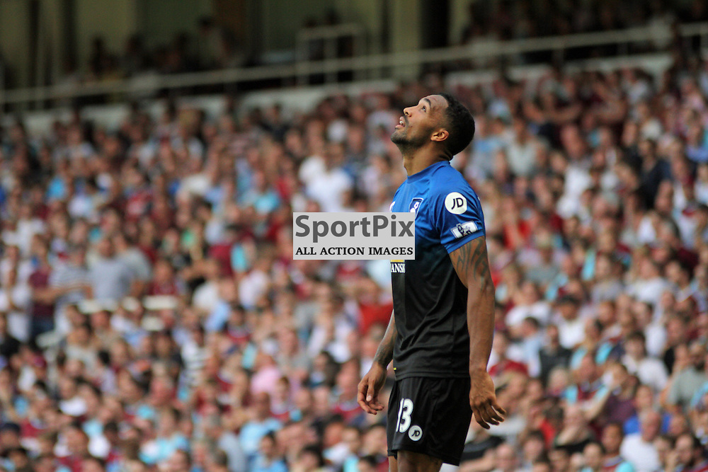 Callum Wilson celebrates by looking at the sky During West Ham United vs Bournemouth FC on Saturday the 22nd August 2015