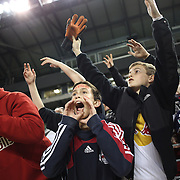 New York Red Bulls fans celebrate their teams 4-1 victory after the New York Red Bulls V New England Revolution, Major League Soccer regular season match at Red Bull Arena, Harrison, New Jersey. USA. 20th April 2013. Photo Tim Clayton