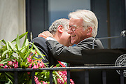 Charleston Mayor Joseph P. Riley (R) hugs Mayor Fabrizio Cardarelli of Spoleto Italy as they open the Spoleto Festival USA, a 17-day performing arts festival May 22, 2015 in Charleston, South Carolina. Riley opened the festival for the last time as Mayor as he will retire at the end of the year after 39-years.