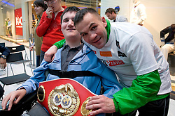 Slovenian Boxer Dejan Zavec alias Jan Zaveck alias Mr. Simpatikus photographing with disabled at open for public and press practice session before defending title of IBF World Champion, on April 6, 2010, in BTC City park, Ljubljana, Slovenia.  (Photo by Vid Ponikvar / Sportida)