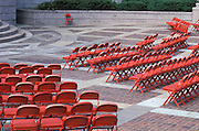 rows of empty chairs outdoors