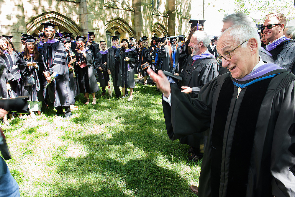 May 23, 2016 New Haven<br /> The Yale University commencement exercises. Architecture dean Robert A.M. Stern is serenaded by the students.