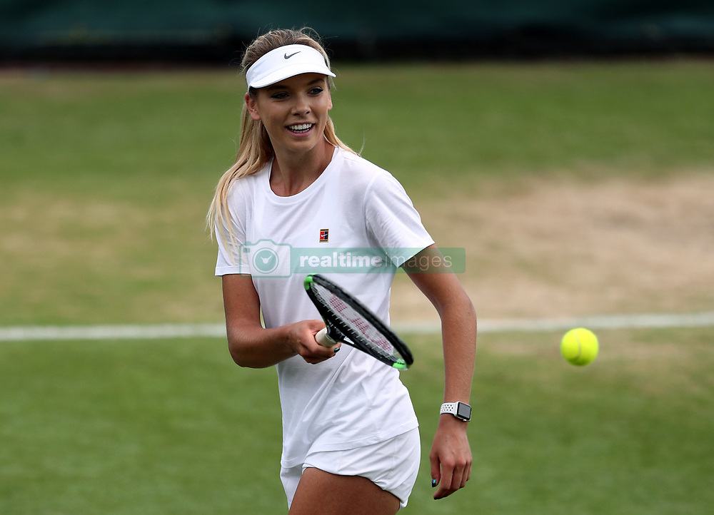 Katie Boulter during a practice session on day two of the Wimbledon Championships at The All England Lawn Tennis and Croquet Club, Wimbledon.