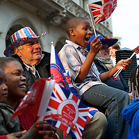 Revelers set up camp outside Westminster Abbey the day before the royal wedding of Prince William and Kate Middleon.