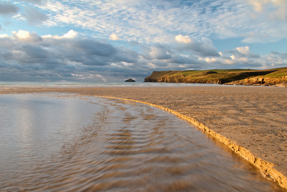 Autumnal view of Polzeath Beach, North Cornwall