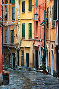 Charming village buildings and alley, Porto Venere, Liguria, Italy