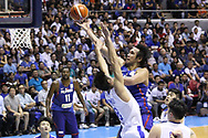 November 27, 2017 - Quezon City, NCR, Philippines - Junemar Fajardo (15) of the Philippines lays-up the ball over Po-Chen Chou (8) of Chinese Taipei to convert an uncontested lay-up during their FIBA World Cup Qualifying Match..Gilas Pilipinas defeated the visiting Chinese Taipei team 90-83 to complete a sweep of their first two assignments in the FIBA 2019 World Cup qualifiers. (Credit Image: © Dennis Jerome S. Acosta/Pacific Press via ZUMA Wire)