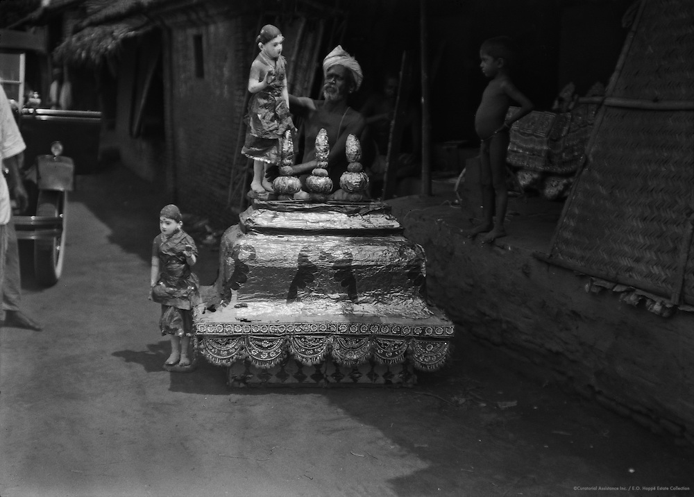Preparing Decorations for Festival, Kumbakonam, India, 1929