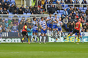 Reading FC players defend a free kick during the Sky Bet Championship match between Reading and Birmingham City at the Madejski Stadium, Reading, England on 9 April 2016. Photo by Mark Davies.