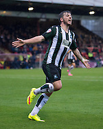 Graham Carey of Plymouth Argyle celebrates after scoring his team's 2nd goal to make it 2-0 during the Sky Bet League 2 match at Bootham Crescent, York<br /> Picture by Russell Hart/Focus Images Ltd 07791 688 420<br /> 14/11/2015