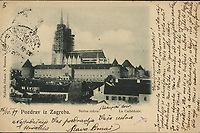 Pozdrav iz Zagreba : Stolna crkva = La Cathédrale. <br /> <br /> ImpresumZagreb : Naklada tiskare A. Brusina, [1899].<br /> Materijalni opis1 razglednica : tisak ; 9,3 x 14 cm.<br /> NakladnikTiskara A. Brusina<br /> Vrstavizualna građa • razglednice<br /> ZbirkaGrafička zbirka NSK • Zbirka razglednica<br /> Formatimage/jpeg<br /> PredmetZagreb –– Kaptol<br /> Katedrala Uznesenja Marijina (Zagreb)<br /> SignaturaRZG-KAP-57<br /> Obuhvat(vremenski)19. stoljeće<br /> NapomenaRazglednica je putovala 1899. godine. • Poleđina razglednice namijenjena je samo za adresu.<br /> PravaJavno dobro<br /> Identifikatori000955564<br /> NBN.HRNBN: urn:nbn:hr:238:245676 <br /> <br /> Izvor: Digitalne zbirke Nacionalne i sveučilišne knjižnice u Zagrebu