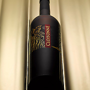 Bottle of Cloisonne Cabernet Sauvignon on a gold background