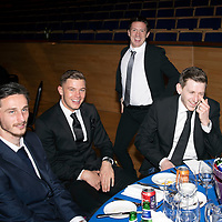 St Johnstone FC Hall of Fame Dinner, Perth Concert Hall….23.03.19<br />Scott Tanser, Callum Hendry, Danny Swanson and Blair Alston having fun<br />Copyright Perthshire Picture Agency<br />Tel: 01738 623350  Mobile: 07990 594431