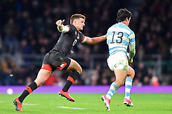 November 11, 2017 - London, United Kingdom - England's Henry Slade tackles Argentina's Matias Moroni during Old Mutual Wealth Series between England against Argentina at Twickenham stadium , London on 11 Nov 2017  (Credit Image: © Kieran Galvin/NurPhoto via ZUMA Press)