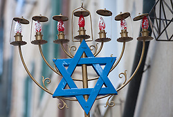 Jewish sign outside synagogue in old Jewish Ghetto quarter of Cannaregio in Venice Italy