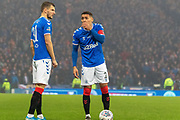 James Tavernier (C) of Rangers FC & Borna Barisic of Rangers FC stand over a dangerous free kick during the Betfred Scottish League Cup Final match between Rangers and Celtic at Hampden Park, Glasgow, United Kingdom on 8 December 2019.