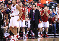 March 08, 2012:  The Indiana bench reacts to a basket against Penn State during the Men's Big Ten Tournament at Bankers Life Fieldhouse in Indianapolis, Ind. Indiana won 75-58..Chris Bergin/ Icon SMI