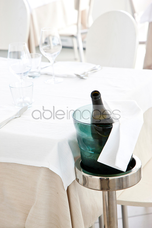 Place Setting with Wine Bottle and Ice Bucket