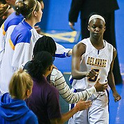Delaware Junior Guard (#5) Vanessa Kabongo heading to the bench Wednesday night as Delaware lead Towson with seconds left in the game. Delaware defeated Towson 75-57 Wednesday at The Bob Carpenter Center In Newark Delaware...Special to The News Journal/SAQUAN STIMPSON