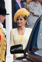 LONDON - UK- 12th July 2017:  HM Queen Letizia of Spain.<br /> The arrival ceremony of HM The King and Queen of Spain in London. King Felipe and Queen Letizia arrive for the official arrival ceremony on Horseguards in London and greeted by HM Queen Elizabeth and HRH The Duke of Edinburgh<br /> Photo by Ian Jones