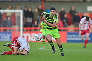Forest Green Rovers Omar Bugiel(11) comes away with the ball during the EFL Sky Bet League 2 match between Stevenage and Forest Green Rovers at the Lamex Stadium, Stevenage, England on 21 October 2017. Photo by Adam Rivers.