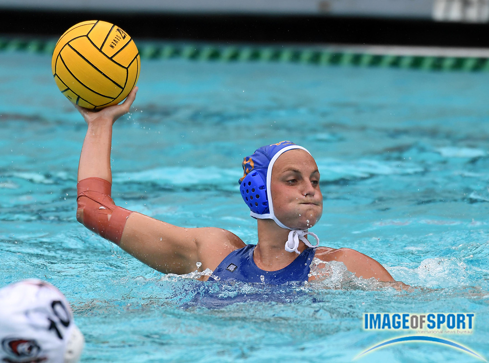 UCLA Bruins attacker Bronte Halligan (25) against the Pacific Tigers during an NCAA college women's water polo quarterfinal game in Los Angeles, Friday, May 11, 2018. UCLA defeated Pacific, 8-4.