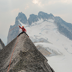 Jas Fauteux working on his Au Cheval on the West Ridge of Pigeon Spire in the Bugbaoos following our run up a route on the North Face.
