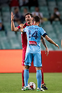 SYDNEY, NSW- NOVEMBER 21: Adelaide United midfielder Ersan Gulum (22) and Sydney FC forward Alex Brosque (14) have a disagreement at the FFA Cup Final Soccer between Sydney FC and Adelaide United on November 21, 2017 at Allianz Stadium, Sydney. (Photo by Steven Markham/Icon Sportswire)