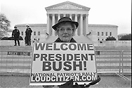GW Bush supporter in front of the Supreme Courthouse building.