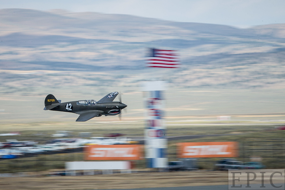 RENO, NV - SEPTEMBER 14: A P-40E racing in the unlimited class during the Reno Championship Air Races on September 14, 2017 in Reno, Nevada. (Photo by Jonathan Devich/Getty Images) *** Local Caption ***
