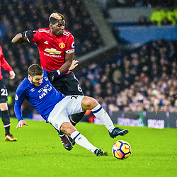 Nikola Vlasic of Everton and Paul Pogba of Manchester United  challenge for a loose ball during the Premier League match between Everton and Manchester United, Goodison Park, Monday 1st January 2018<br /> (c) John Baguley | SportPix.org.uk