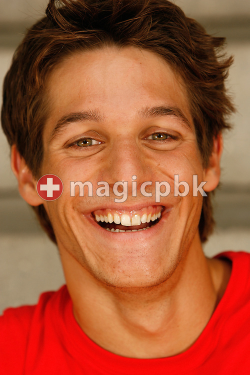 Swimmer Flori Lang of Switzerland poses during a portrait session of the Swiss team for the 2006 European Championships at St. Jakob Sportbad in Basel, Switzerland, Saturday July 22, 2006. (Photo by Patrick B. Kraemer / MAGICPBK)