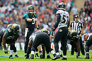 Bortles, Blake of the Jacksonville Jaguars organises his offence during the International Series match between Baltimore Ravens and Jacksonville Jaguars at Wembley Stadium, London, England on 24 September 2017. Photo by Jason Brown.