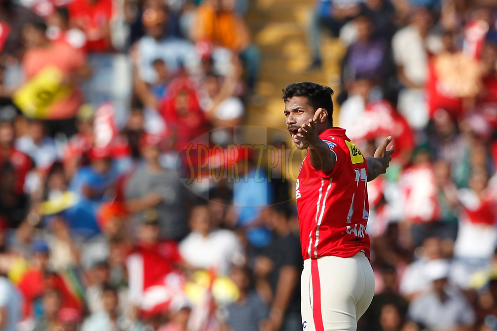 Varun Aaron of Kings XI Punjab celebrates the wicket of Corey Anderson of the Delhi Daredevils during match 36 of the Vivo 2017 Indian Premier League between the Kings XI Punjab and the Delhi Daredevils  held at the Punjab Cricket Association IS Bindra Stadium in Mohali, India on the 30th April 2017<br /> <br /> Photo by Deepak Malik - Sportzpics - IPL