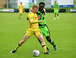 Rory Gaffney of Bristol Rovers battles Emmanuel Monthe of Forest Green Rovers for the ball - Mandatory by-line: Paul Roberts/JMP - 22/07/2017 - FOOTBALL - New Lawn Stadium - Nailsworth, England - Forest Green Rovers v Bristol Rovers - Pre-season friendly
