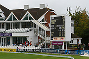 A start to play maybe on the cards as the scoreboards have been switched on after a lengthy delay to the start of play during the Specsavers County Champ Div 1 match between Somerset County Cricket Club and Essex County Cricket Club at the Cooper Associates County Ground, Taunton, United Kingdom on 25 September 2019.
