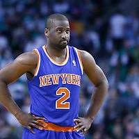 28 April 2013: New York Knicks point guard Raymond Felton (2) rests during Boston Celtics overtime 97-90 victory over the New York Knicks during Game Four of the Eastern Conference Quarterfinals of the 2013 NBA Playoffs at the TD Garden, Boston, Massachusetts, USA.