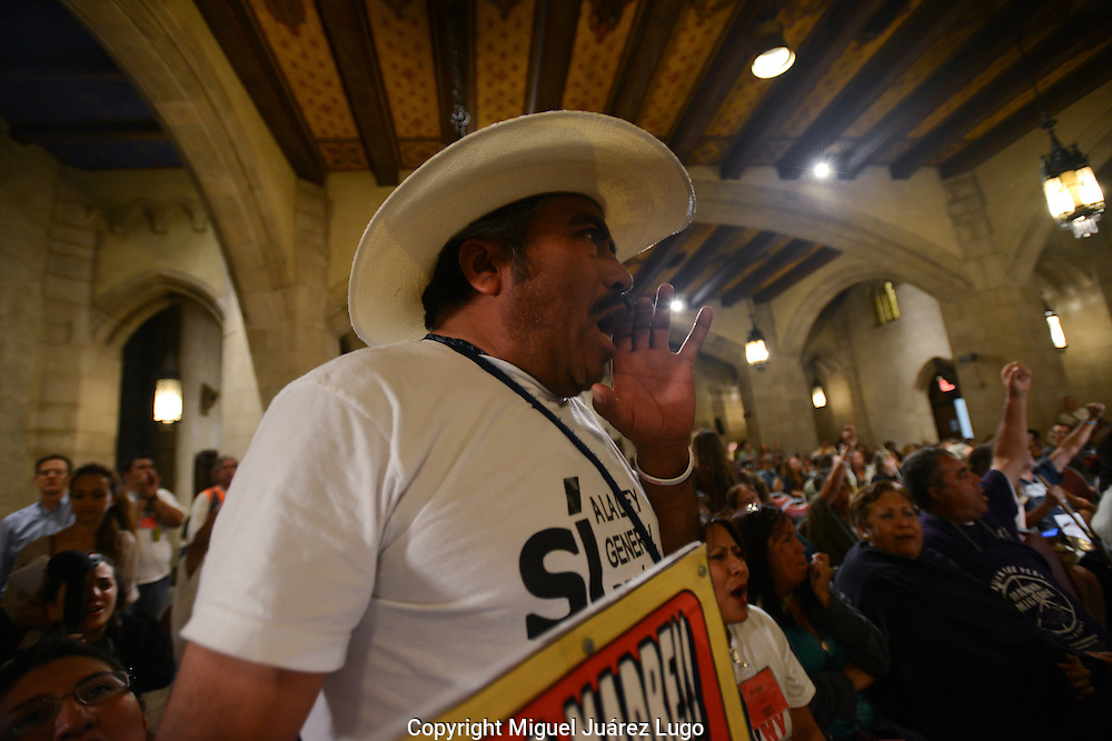 NEW YORK NY- SEPT 07, 2012.-  <br />  Melchor Flores Landa screams the name of his missing son, Melchor Flores Hernandez, during a Sept. 6 rally at East River Church calling for an end to the violence and destruction stemming from Mexico's drug war, which has left more than 60,000 people dead or disappeared since it began nearly six years ago. The rally is part of the Caravan for Peace With Justice, which has joined Mexican families with Americans who've also suffered the violent consequences from the drug war. The caravan has traveled this summer some 6,000 miles through 25 cities including Los Angeles, Houston, Atlanta and Chicago before arriving in New York. The caravan is to finish with a rally in Washington D.C.. Landa's son worked as a street artist in the northern city of Monterrey, where he was arrested by local police in January of 2009. His father has not heard from him since.  (PHOTO: MIGUEL JUAREZ LUGO)