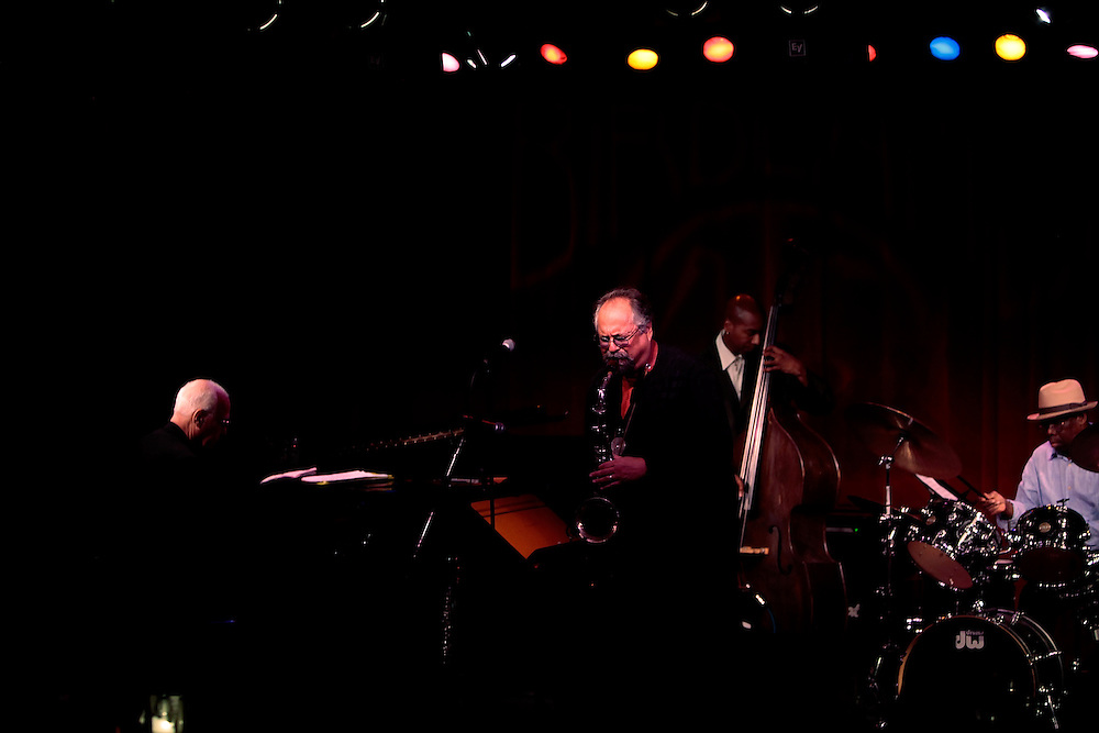 "Saxophonist Joe Lovano, Steve Kuhn on piano, bassist  Lonnie Plaxico, and Andrew Cyrille on drums perform  ""Coltrane Revisited"" at the Birdland Jazz Club on September 23, 2009 in New York City. photo by Joe Kohen for The New York Times"