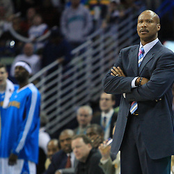06 February 2009:  New Orleans Hornets coach Byron Scott watches his team during a 101-92 win by the New Orleans Hornets over the Toronto Raptors at the New Orleans Arena in New Orleans, LA.