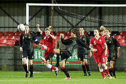 PORTHMADOG, WALES - Monday, October 1, 2012: Wales' Kylie Nolan clears the ball against Belgium during the International Friendly Under-16's match at y Traeth. (Pic by David Rawcliffe/Propaganda)