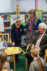 Edinburgh's Bailie Elaine Aitken opened Firrhill High School's 'The Anne Frank: A History For Today' exhibition  today. Baillie Aitken was joined by Heather Boyce from the Anne Frank Trust and second generation Holocaust survivors who spoke of their family members' memories of the war. The ceremony was attended by pupils from Firrhill High, local primary schools and retirement home residents from Old Farm Court and Caiystane Court. 29 April 2014 (c) GER HARLEY | StockPix.eu