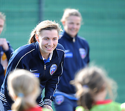 Bristol Academy captain Grace McCatty answers questions from young participants in the Vixens Experience - Photo mandatory by-line: Paul Knight/JMP - Mobile: 07966 386802 - 09/05/2015 - SPORT - Football - Bristol - Stoke Gifford Stadium - Bristol Academy Women v Arsenal Ladies FC - FA Women's Super League