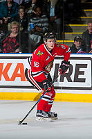 KELOWNA, CANADA - JANUARY 21: Henri Jokiharju #16 of the Portland Winterhawks skates with the puck against the Kelowna Rockets on January 21, 2017 at Prospera Place in Kelowna, British Columbia, Canada.  (Photo by Marissa Baecker/Getty Images)  *** Local Caption *** Henri Jokiharju;