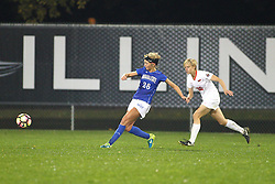 04 November 2016:  Brice Bement(26) & Brianne Richards(20) during an NCAA Missouri Valley Conference (MVC) Championship series women's semi-final soccer game between the Indiana State Sycamores and the Illinois State Redbirds on Adelaide Street Field in Normal IL