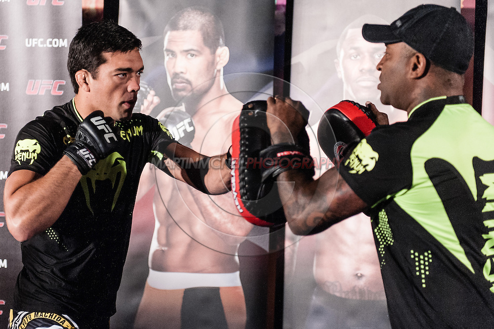 "MANCHESTER, ENGLAND, NOVEMBER 23, 2013: Lyoto Machida is pictured at the media open work-out sessions for ""UFC Fight Night 30: Machida vs. Munoz"" inside Bierkeller Shooter's Sports Bar in The Printworks, Manchester (Martin McNeil for ESPN)"